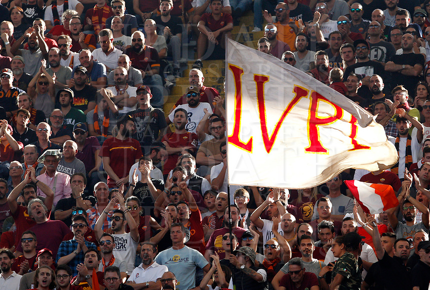 Roma's fans attend the Italian Serie A football match between Roma and Lazio at Rome's Olympic stadium, September 29, 2018. Roma won 3-1.<br /> UPDATE IMAGES PRESS/Riccardo De Luca