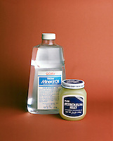 PETROLEUM JELLY AND MINERAL OIL<br /> Examples Of Petrolatum<br /> A colorless to yellowish-white hydrocarbon mixture obtained by fractional distillation of petroleum. The solid form is petroleum jelly and mineral oil is the liquid form