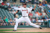 Rochester Red Wings relief pitcher Ryan O'Rourke (20) delivers a pitch during a game against the Indianapolis Indians on May 26, 2016 at Frontier Field in Rochester, New York.  Indianapolis defeated Rochester 5-2.  (Mike Janes/Four Seam Images)