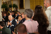 U.S. Vice President Joseph Biden, left, applauds the family of Spc. Christopher Gathercole, U.S. Army, who was killed during a battle that wounded Sergeant First Class Leroy Arthur Petry, U.S. Army, during a ceremony to award Petry the Medal of Honor for conspicuous gallantry and intrepidity at the risk of his life above and beyond the call of duty in the East Room of the White House in Washington D.C., July 12, 2011.  Sergeant Petry is receiving the medal for his courageous actions during combat operations against an armed enemy in Paktya, Afghanistan in May, 2008 and is the second living, active duty service member to be awarded the Medal of Honor for actions in Iraq or Afghanistan. .Credit: Allison Shelley / Pool via CNP