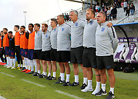 England Manager, Paul Simpson, lines up with his coaching staff and substitutes for the national anthem during Chile Under-21 vs England Under-20, Tournoi Maurice Revello Football at Stade Parsemain on 7th June 2019