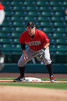 Indianapolis Indians first baseman Brent Morel (5) holds a runner on during a game against the Rochester Red Wings on June 10, 2015 at Frontier Field in Rochester, New York.  Indianapolis defeated Rochester 5-3.  (Mike Janes/Four Seam Images)