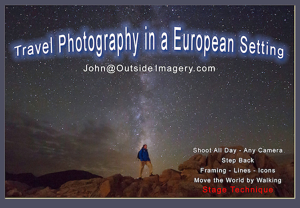 These European photos are an introduction to John Kieffer's 30 years as a professional photographer, teacher and writer based in Boulder, Colorado, USA. <br /> John is looking for work in Europe in tourism, the photography industry and education, such as tour guide and photo workshops. John will be in Europe June through September 2018.<br /> John@OutsideImagery.com   +1 720-244-7940