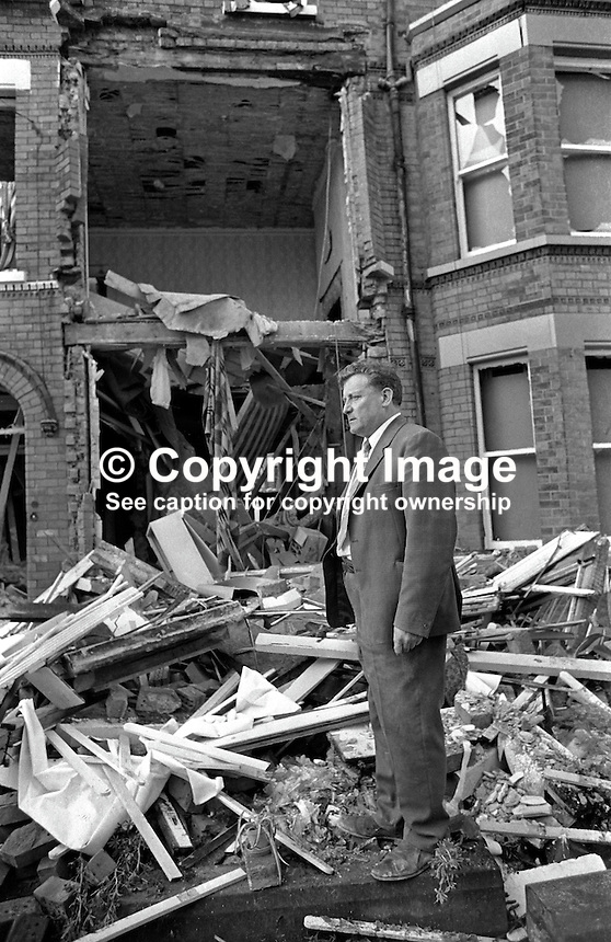 Explosion, 6th September 1972, at Belfast, N Ireland home of Jim O'Kane, aka James O'Kane, prominent member, Republican Labour Party, and former member of Belfast Corporation forerunner of Belfast City Council. The bombing was attributed to the UDA/UFF. Bridget Breen, 33 years, a visitor, to the house died in the blast. 197209070550<br />