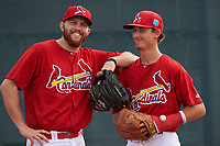 St. Louis Cardinals Robby Rowland (left) and Luke Weaver (right) joke around for the camera during practice before a Minor League Spring Training game against the New York Mets on March 31, 2016 at Roger Dean Sports Complex in Jupiter, Florida.  (Mike Janes/Four Seam Images)