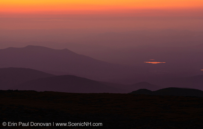 Appalachian Trail - Sunset from Mount Washington in the White Mountains, New Hampshire USA.