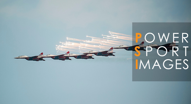 MIG-29 of 'Swifts' perform in a formation flying at the China International Aviation & Aerospace Exhibition (Airshow China 2016) at China International Aviation Exhibition Center on 02 November 2016, in Zhuhai, China. Photo by Marcio Machado / Power Sport Images