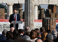 Italy's cultural Minister Dario Franceschini vattends at ceremony of reopening  Six ancient residences, or 'domus', at archaeological excavations of Pompeii following restoration.<br /> <br /> Pompei  sei domus riaprono al pubblico dopo il restauro