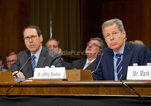 "Randall Stephenson, Chairman & Chief Executive Officer<br /> AT&T, left, and Jeffrey Bewkes, Chairman & Chief Executive Officer, Time Warner, right, give testimony before the United States Senate Committee on the Judiciary Subcommittee on Antitrust, Competition Policy & Consumer Rights during the hearing ""Examining the Competitive Impact of the AT&T-Time Warner Transaction"" on Capitol Hill in Washington, DC on Wednesday, December 7, 2016.<br /> Credit: Ron Sachs / CNP /MediaPunch"