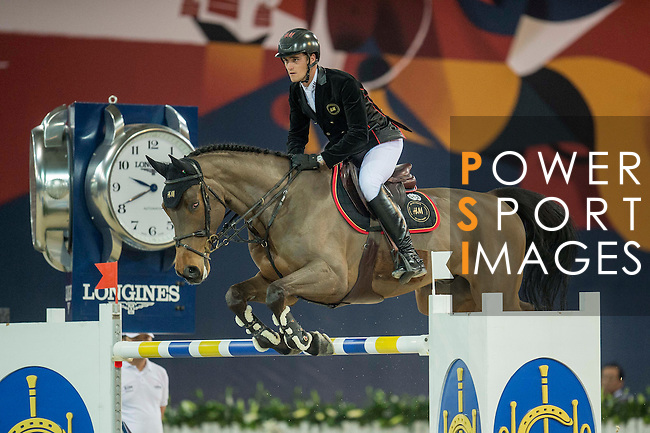 Olivier Philippaerts of Belgium riding H&M Challenge vd Begijnakker Z during the Hong Kong Jockey Club Trophy competition, part of the Longines Masters of Hong Kong on 10 February 2017 at the Asia World Expo in Hong Kong, China. Photo by Juan Serrano / Power Sport Images