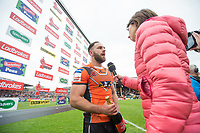 Picture by Allan McKenzie/SWpix.com - 13/05/2017 - Rugby League - Ladbrokes Challenge Cup - Castleford Tigers v St Helens - The Mend A Hose Jungle, Castleford, England - Luke Gale is presented with the man of the match award.