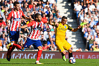 Anthony Knockaert of Brighton & Hove Albion (11) In action during the pre season friendly match between Brighton and Hove Albion and Atletico Madrid at the American Express Community Stadium, Brighton and Hove, England on 6 August 2017. Photo by Edward Thomas / PRiME Media Images.