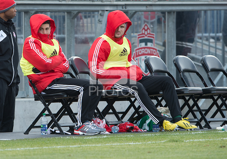 06 April 2013: Toronto FC midfielder Jonathan Osorio #21 and Toronto FC goalkeeper Stefan Frei #24 sit and watch the action during an MLS game between FC Dallas and Toronto FC at BMO Field in Toronto, Ontario Canada..The game ended in a 2-2 draw..