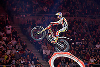 2nd February 2020; Palau Sant Jordi, Barcelona, Catalonia, Spain; X Trial Mountain Biking Championships; Adam Raga (Spain) of the TRRS Team in action during the X Trial indoor Barcelona