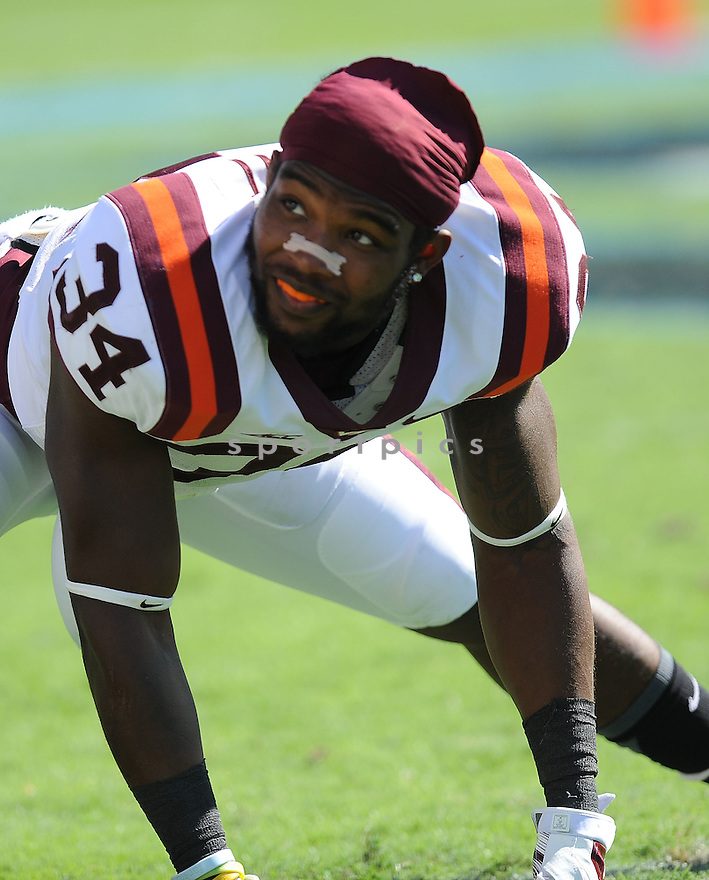Virginia Tech Hokies Kyshoen Jarrett (34) during a game against the North Carolina Tar Heels on October 4, 2014 at Kenan Stadium in Chapel Hill, NC. Virginia Tech beat North Carolina 34-17.