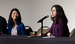 Nadia Alfadel Coloma, president of the DePaul Women's Network employee resource group, speaks at the annual Diversity Forum, Tuesday, April 30, 2019 in the Lincoln Park Student Center. (DePaul University/Jeff Carrion)