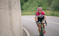 Hugh Carthy (GBR/Education First-Drapac) leading the race with 7km to go<br /> <br /> Stage 5: Gstaad &gt; Leukerbad (155km)<br /> 82nd Tour de Suisse 2018 (2.UWT)