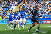 1st October 2017, Hillsborough, Sheffield, England; EFL Championship football, Sheffield Wednesday versus Leeds United; Kemar Roofe of Leeds United FC plays the ball in the 6 yard box