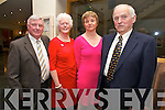 Joe Dolan, Kathleen Casey O'Connell, Josephine Whelan, Michael Whelan.  Listowel, Abbeydorney enjoying the Irish Coursing Club Awards Dinner Dance at the Ballyroe Heights Hotel on Saturday
