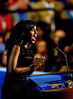 Actress Kerry Washington speaks on stage during the final day of the Democratic National Convention at Time Warner Cable Arena.