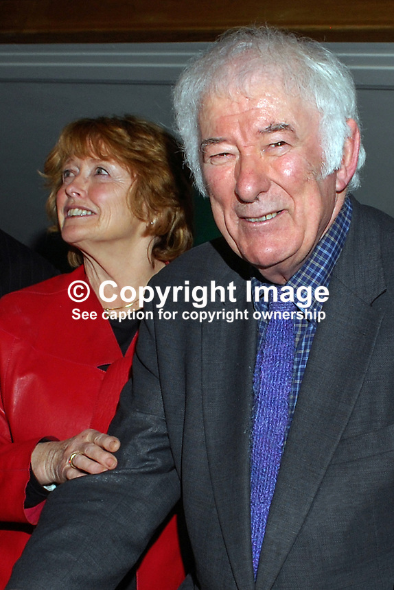 Nobel Laureate Irish poet Seamus Heaney who is this year celebrating his 70th birthday, with his wife, Marie, at a Queen's University Belfast, lunch followed by him being interviewed by broadcaster William Crawley. 200912023169.<br /> <br /> Copyright Image from Victor Patterson,<br /> 54 Dorchester Park, <br /> Belfast, UK, BT9 <br /> <br /> t1: +44 28 9066 1296 (from Rep of Ireland 048 90661296)<br /> t2: +44 28 9002 2446 (from Rep of Ireland 048 9002 2446)<br /> <br /> m: +44 7802 353836<br /> <br /> e: victorpatterson@me.com<br /> www.victorpatterson.com<br /> <br /> Please see my Terms and Conditions of Use at www.victorpatterson.com. It is IMPORTANT that you familiarise yourself with them.<br /> <br /> Images used on the Internet must be visibly watermarked i.e. &copy; Victor Patterson<br /> within the body of the image and copyright metadata must not be deleted. Images <br /> used on the Internet have a size restriction of 4kbs and will be chargeable at current<br />  NUJ rates unless agreed otherwise.<br /> <br /> This image is only available for the use of the download recipient i.e. television station, newspaper, magazine, book publisher, etc, and must not be passed on to any third <br /> party. It is also downloaded on condition that each and every usage is notified within 7 days to victorpatterson@me.com<br /> <br /> The right of Victor Patterson to be identified as the author is asserted in accordance with The Copyright Designs And Patents Act (1988). All moral rights are asserted.