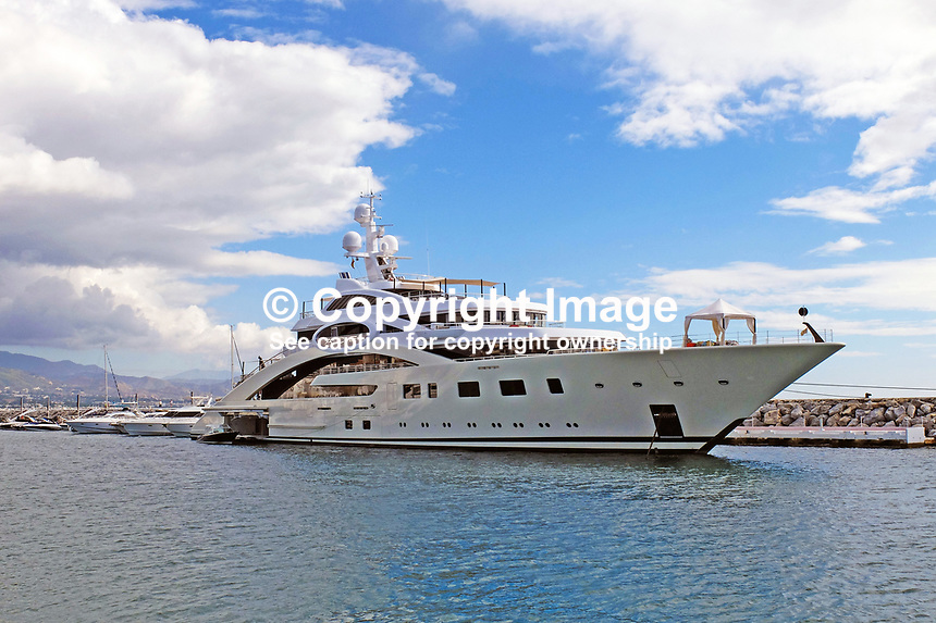 87 metre motor yacht, ACE, moored in the harbour, Puerto Banus, Marbella, Spain, 14th October 2015, 201510141728<br />