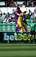 3rd November 2019; HBF Park, Perth, Western Australia, Australia; A League Football, Perth Glory versus Central Coast Mariners; Samuel Silvera of the Central Coast Mariners wins the header against Alex Grant of the Perth Glory - Editorial Use