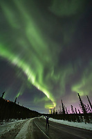 Northern lights over Goldstream Road in the Goldstream Valley in Fairbanks, Alaska.
