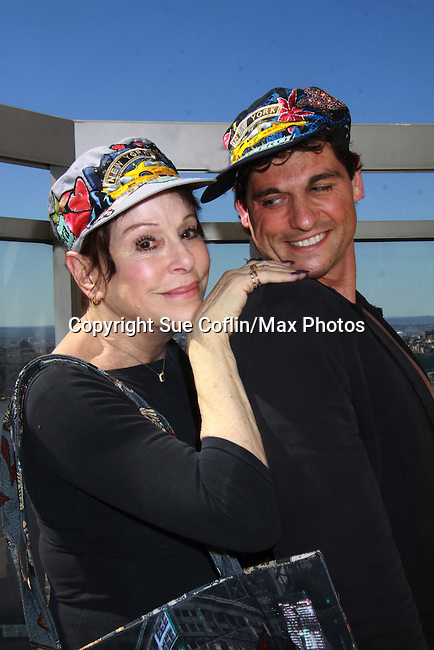 """Days Of Our Lives Louise Sorel and Billy Freda at Promo shoot for the annual Broadway Extravaganza in honor of Jane Elissa's Candidacy for Leukemia & Lymphoma Society Woman of the Year and for Hats for Health on April 23, 2012 at the Marriott Marquis Hotel, New York City, New York. In the shoot are Days of Our Live Louise Sorel """"Vivian"""", Broadway Bonnie and Clyde Melissa VanDer Schyff and Clay Elder, Dale Badway (Creator Fame-Wall) and host for the upcoming event, Corey Brunish (producer of Bonnie & Clyde) and Billy Freda, Missy Modell (Photo by Sue Coflin/Max Photos)"""
