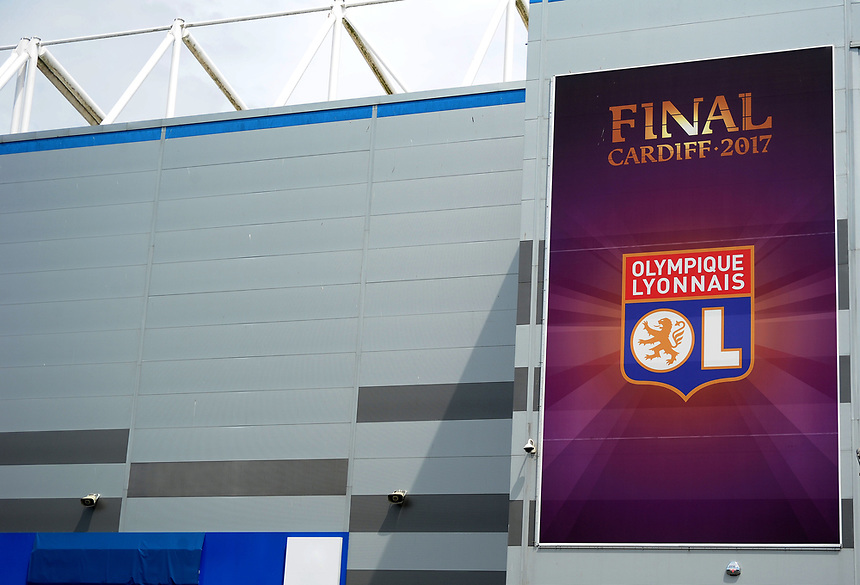 Branding for Olympique Lyonnais at the UEFA Women's Champions League Final<br /> <br /> Photographer Ashley Crowden/CameraSport<br /> <br /> UEFA Women's Champions League Final - Lyon Women v Paris Saint-Germain Women - Thursday 1st June 2017 - Cardiff City Stadium<br />  <br /> World Copyright &copy; 2017 CameraSport. All rights reserved. 43 Linden Ave. Countesthorpe. Leicester. England. LE8 5PG - Tel: +44 (0) 116 277 4147 - admin@camerasport.com - www.camerasport.com