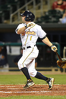 Montgomery Biscuits second baseman Ryan Brett (1) during a game against the Mississippi Braves on April 21, 2014 at Riverwalk Stadium in Montgomery, Alabama.  Montgomery defeated Mississippi 6-2.  (Mike Janes/Four Seam Images)