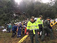 LA UNION -COLOMBIA-29-11-2016. Aspecto del sitio de la tragedia del avión de la compañia Lamia Corporation de Bolivia que transportaba al equipo Chapecoense de Brasil y el cual perdieron la vida 76 personas y 6 sorevivientes. El siniestro ocurrió en el cerro El Gordo, municipio de La Unión Antioquia  / Aspect of the site of the tragedy of the airplane of the company Lamia Corporation of Bolivia that transported Chapecoense team. 76 people lost and 6 survivors. The airplane crash happened at El Gordo mountain in La Union, Antioquia. Photo: VizzorImage/ Policia Antioquia<br /> NOTA: THE IMAGE WAS PROVIDED BY ANTIOQUIA POLICE  PRESS SERVICE. NO SALES, NO MARKETING,  COMPULSORY CREDIT