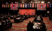 MLS commissioner Don Garber welcomes the assembled crowd for  the MLS Superdraft by the Philadephia Union at the Pennsylvania Convention Center in Philadelphia, PA.