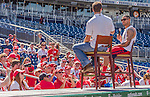 19 September 2015: Washington Nationals shortstop Ian Desmond has a chat with fans prior to a game against the Miami Marlins at Nationals Park in Washington, DC. The Nationals defeated the Marlins 5-2 in the third game of their 4-game series. Mandatory Credit: Ed Wolfstein Photo *** RAW (NEF) Image File Available ***