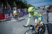 A mildly frustrated Alberto Contador (ESP/Tinkoff-Saxo) finishing the opening TTT.<br /> Team Tinkoff-Saxo had a very promising fast first part of the stage, but they couldn't hold up the tempo (as Contador couldn't match the pace of his teammates).<br /> <br /> 2015 Giro<br /> finish zone of stage 1: San Lorenzo Al Mare - San remo (TTT/17.6km)
