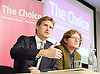 Tristram Hunt MP, Labour's Shadow Secretary of State for Education delivers a speech as part of Labour's summer campaign on The Choice facing the country between Labour and the Conservatives on education at Microsoft, London, Great Britain  18th August 2014.Pictured with John Blake Labour Teachers editor.<br />