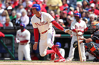 Philadelphia Phillies outfielder Hunter Pence #3 during their home opener against the Miami Marlins at Citizens Bank Park on April 9, 2012 in Philadelphia, Pennsylvania.  Miami defeated Philadelphia 6-2.  (Mike Janes/Four Seam Images)