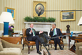 US President Barack Obama and acting Prime Minister (Taoiseach) of Ireland Enda Kenny deliver brief remarks to members of the news media following their bilateral meeting in the Oval Office of the White House, in Washington, DC, USA, 15 March 2016.<br /> Credit: Michael Reynolds / Pool via CNP