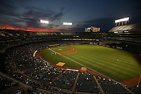 OAKLAND, CA - AUGUST 4:  Wide angle interior scenic view at sunset during the game between the Tampa Bay Rays and Oakland Athletics at O.co Coliseum on Monday, August 4, 2014 in Oakland, California. Photo by Brad Mangin