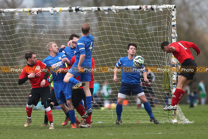 Wenlock score their fourth goal during Wenlock Arms (red) vs Gladstone Wanderers, Hackney & Leyton Sunday League Jack Morgan Cup Semi-Final Football at Hackney Marshes on 26th February 2017