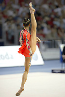 September 27, 2003, Budapest, Hungary (UPI) -- Rhythmic gymnastic star IRINA TCHACHINA of Russia performs with clubs to win Bronze medal in All-Around at 2003 Rhythmic Gymnastics World Championships.