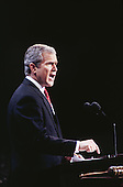 Governor George W. Bush (Republican of Texas) delivers his speech accepting the 2000 Republican Party nomination for President of the United States at the First Union Center on the final night of the Republican National Convention in Philadelphia, Pennsylvania on August 3, 2000.<br /> Credit: Rick Friedman / Pool via CNP