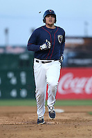 A.J. Reed (40) of the Lancaster JetHawks runs the bases during a game against the High Desert Mavericks at The Hanger on May 19, 2015 in Lancaster, California. Lancaster defeated High Desert, 8-7. (Larry Goren/Four Seam Images)