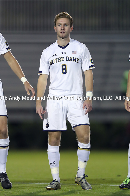 21 October 2016: Notre Dame's Jon Gallagher (IRL). The Duke University Blue Devils hosted the University of Notre Dame Fighting Irish at Koskinen Stadium in Durham, North Carolina in a 2016 NCAA Division I Men's Soccer match. Duke won the game 2-1 in two overtimes.