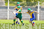 Kerry's Alanna Maunsell gets away from Roscommon's Annmarie Murray in the All Ireland U16' s camogie championship at Kilmoyley on Sunday.