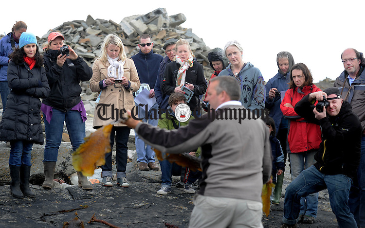 Guests look on during a demonstration at the Seaweed Gathering in Quilty which took place as part of this year's Burren Slow Food festival. Photograph by Declan Monaghan