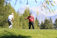 Richard McEvoy (ENG) putts on the 10th green during Sunday's Final Round 4 of the 2018 Omega European Masters, held at the Golf Club Crans-Sur-Sierre, Crans Montana, Switzerland. 9th September 2018.<br /> Picture: Eoin Clarke | Golffile<br /> <br /> <br /> All photos usage must carry mandatory copyright credit (&copy; Golffile | Eoin Clarke)