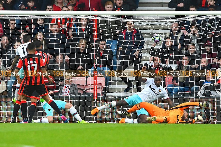 Joshua King of AFC Bournemouth scores the third goal and gets his hat trick during AFC Bournemouth vs West Ham United, Premier League Football at the Vitality Stadium on 11th March 2017