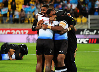 Fiji players celebrate at the fianl whistle during the 2017 Rugby League World Cup quarterfinal match between New Zealand Kiwis and Fiji Bati at Wellington Regional Stadium in Wellington, New Zealand on Saturday, 18 November 2017. Photo: Dave Lintott / lintottphoto.co.nz