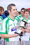 Captain Colm Lyons of Na Gaeil with the winning trophy in the Muster Junior B Football Final last Sunday afternoon in Knockaderry.